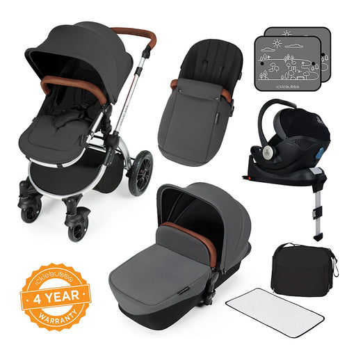 Ickle Bubba Stomp V3 i-Size Travel System with ISOFIX Base - Graphite Grey on Silver