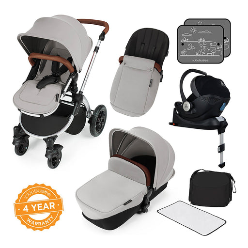 Ickle Bubba Stomp V3 i-Size Travel System with ISOFIX Base - Silver on Silver - Pushchair Expert