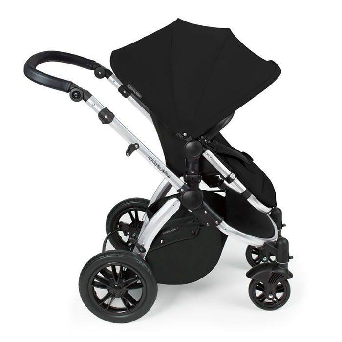Ickle Bubba Stomp V3 Travel System with ISOFIX Base - Black on Silver - Pushchair Expert