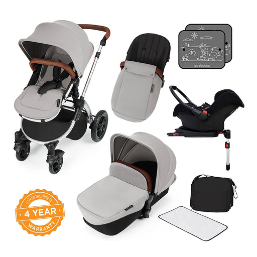 Ickle Bubba Stomp V3 Travel System with ISOFIX Base - Silver on Silver