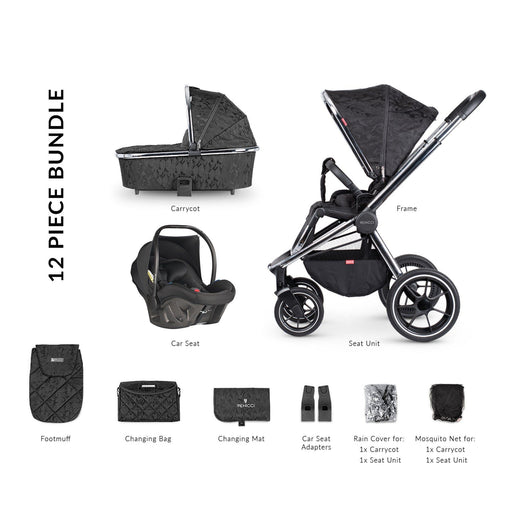 Venicci Tinum 12-piece i-Size Ultralite travel system bundle - Camo Black + FREE IQ ISOFIX base