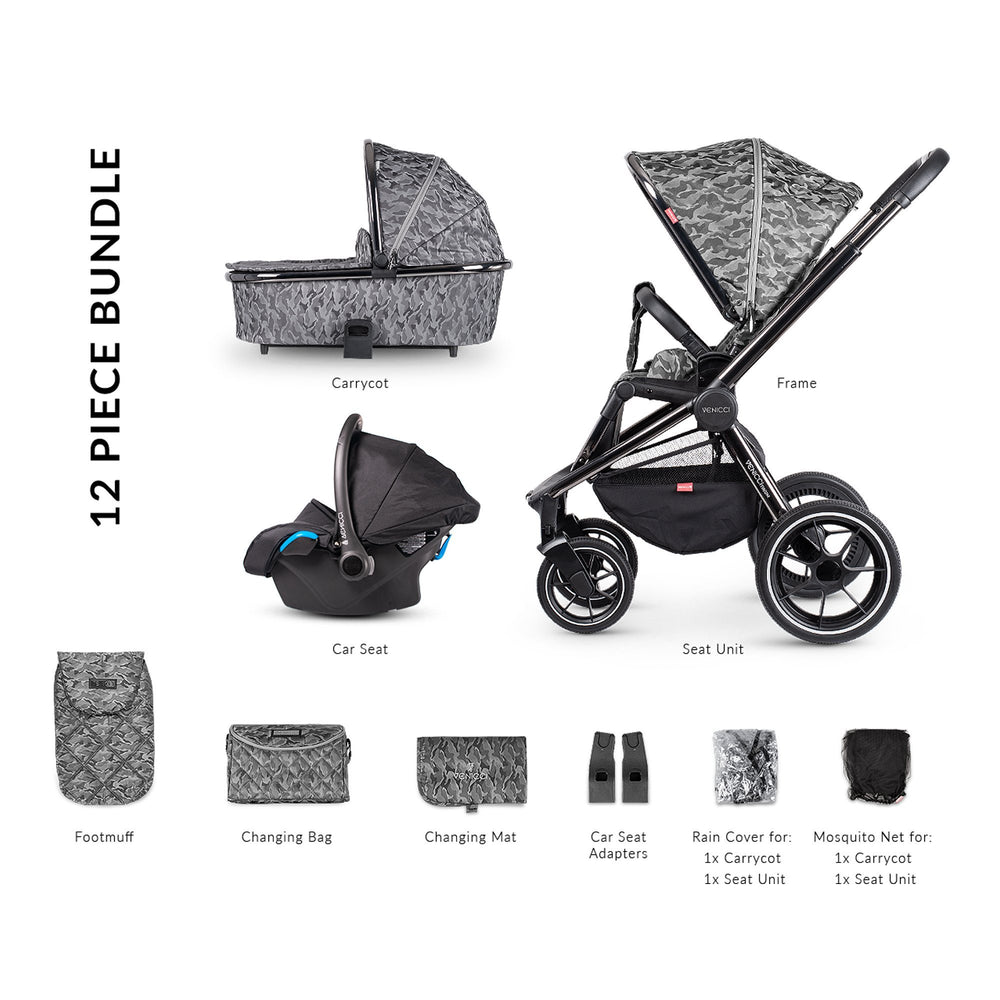 Venicci Tinum 3-in-1 Travel System - Camo Grey - Pushchair Expert