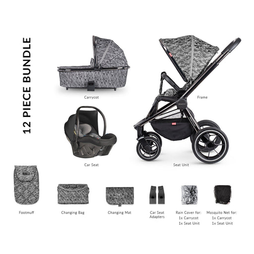 Venicci Tinum 12-piece i-Size Ultralite travel system bundle - Camo Grey + FREE IQ ISOFIX base