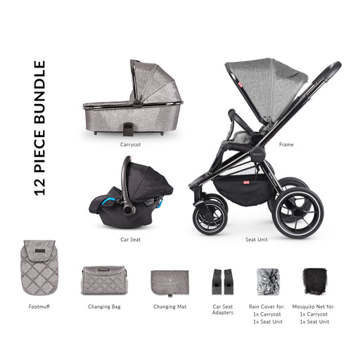 Venicci Tinum 3-in-1 Travel System - Grey - Pushchair Expert