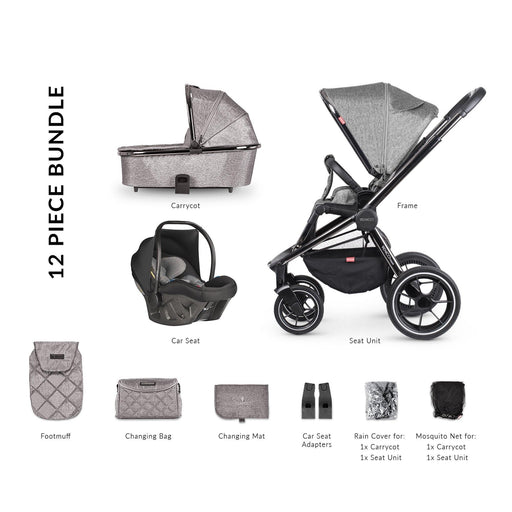Venicci Tinum 12-piece i-Size Ultralite travel system bundle - Grey
