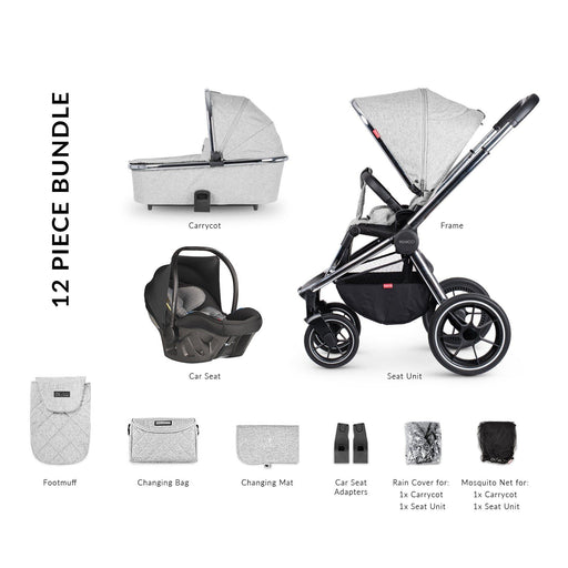 Venicci Tinum 12-piece i-Size Ultralite travel system bundle - Light Grey