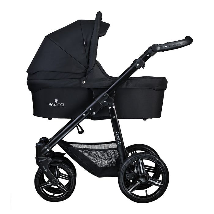 Venicci Soft 3-in-1 Travel System Black Chassis - Black - Pushchair Expert