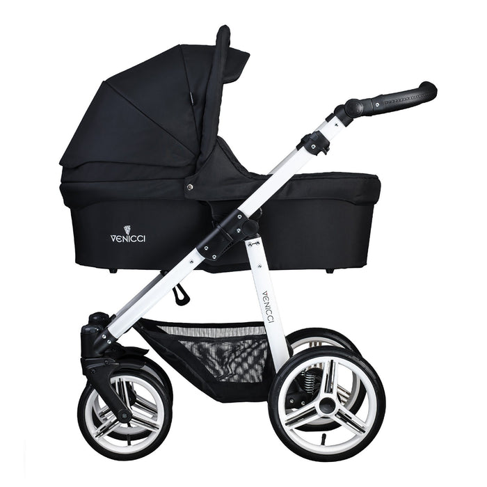 Venicci Soft 2-in-1 White Chassis - Black - Pushchair Expert