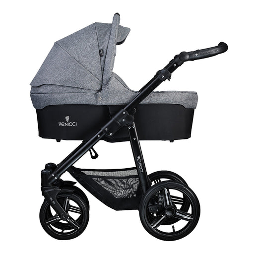Venicci Soft 3-in-1 Travel System Black Chassis - Denim Grey - Pushchair Expert