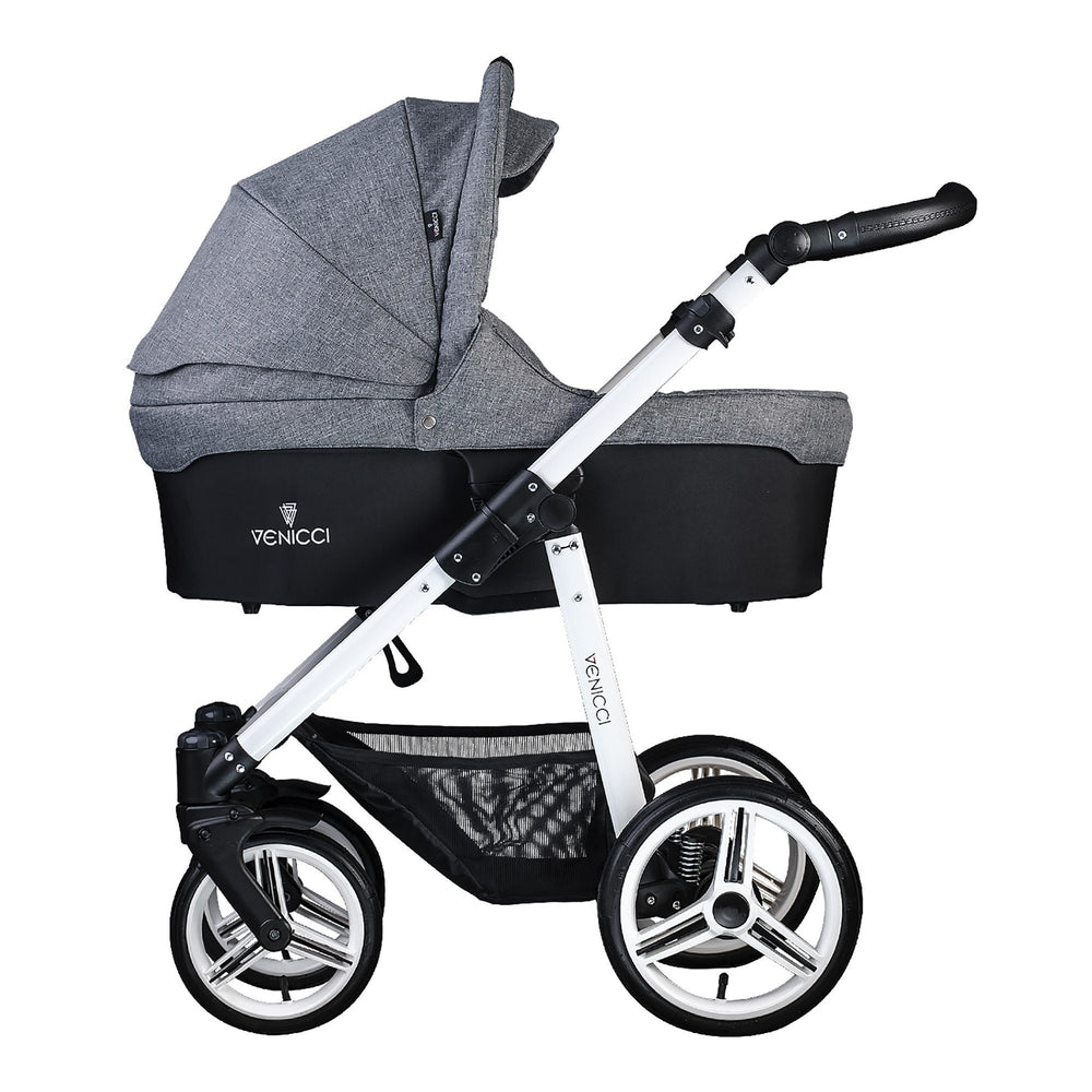Venicci Soft 3-in-1 Travel System White Chassis - Denim Grey - Pushchair Expert