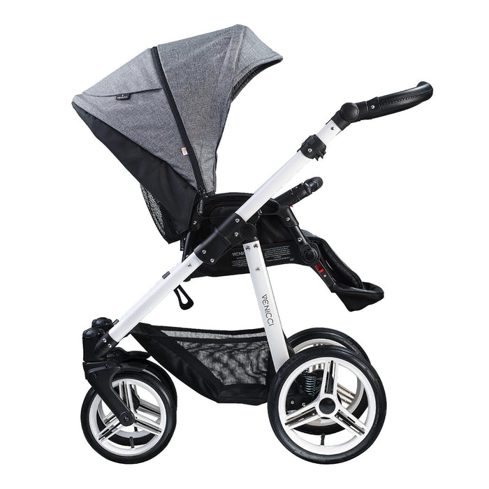 Venicci Soft 3-in-1 Travel System White Chassis Denim Grey