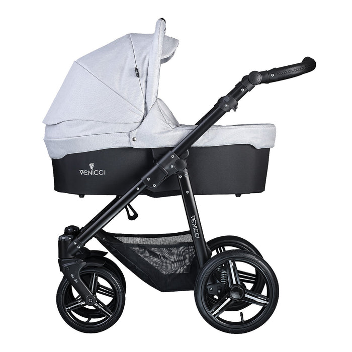 Venicci Soft 2-in-1 Black Chassis - Light Grey - Pushchair Expert