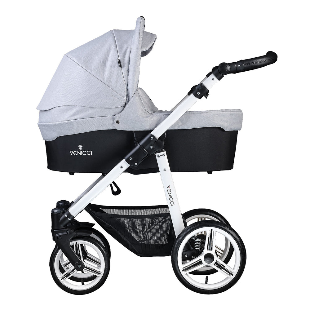 Venicci Soft 3-in-1 Travel System White Chassis Light Grey