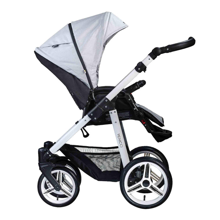 Venicci Soft 3-in-1 Travel System White Chassis - Light Grey - Pushchair Expert