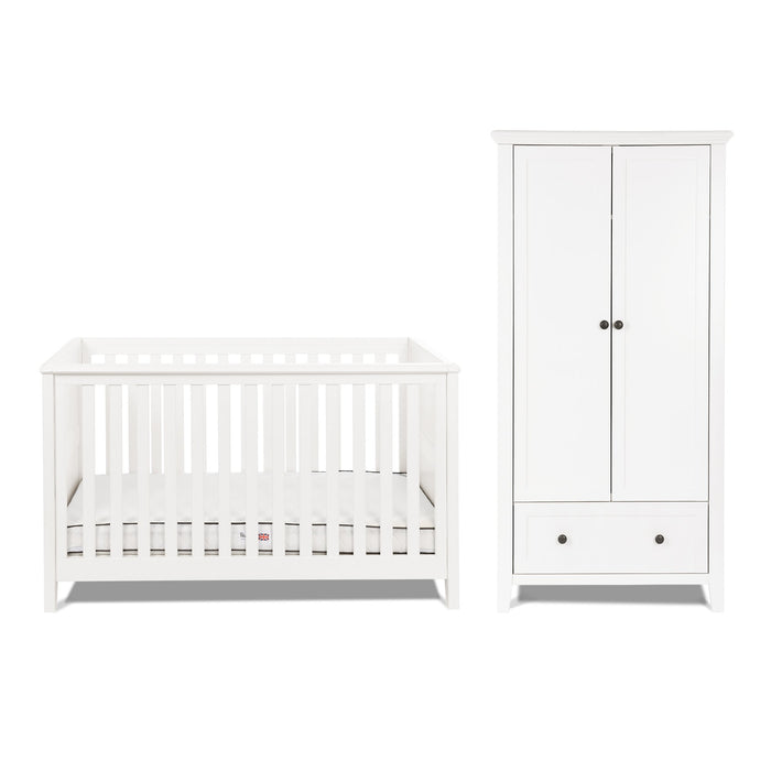 Silver Cross Nostalgia White Cot Bed and Wardrobe - Pushchair Expert
