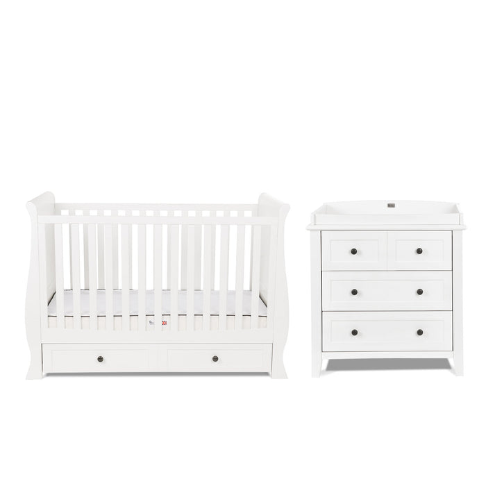 Silver Cross Nostalgia White Sleigh Cot Bed and Dresser - Pushchair Expert