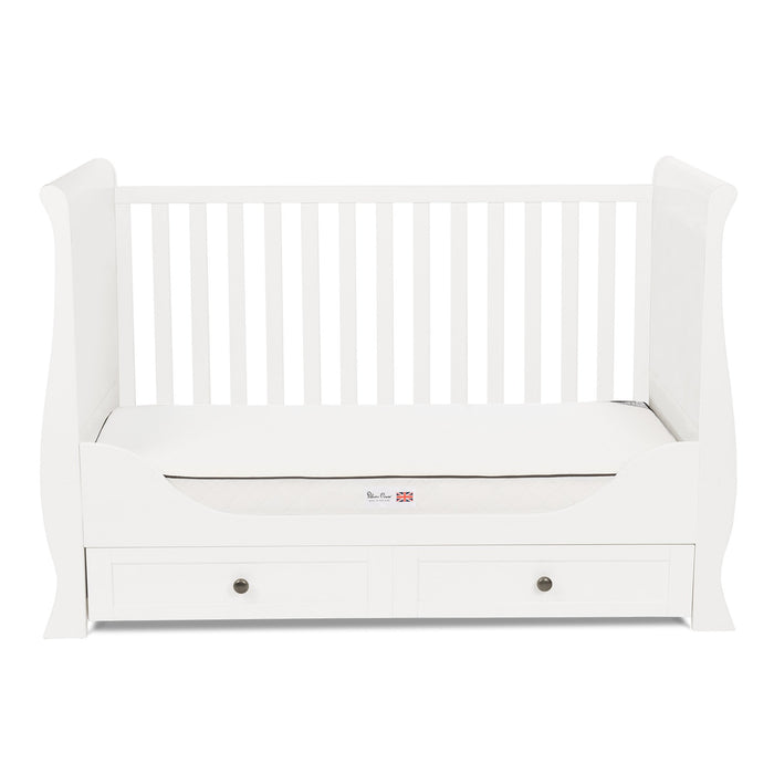 Silver Cross Nostalgia White Sleigh Cot Bed and Wardrobe - Pushchair Expert