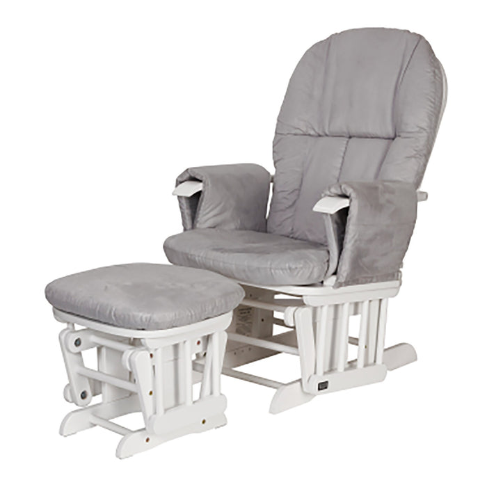 Tutti Bambini Reclining Glider Chair & Stool - White with Grey Cushions - Pushchair Expert
