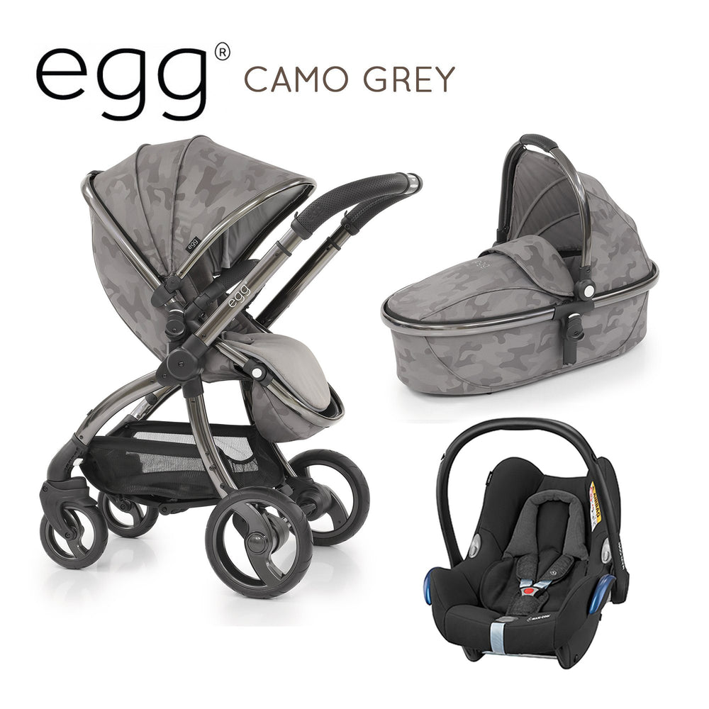 egg Stroller Camo Grey Travel System with Maxi-Cosi Cabriofix - Pushchair Expert