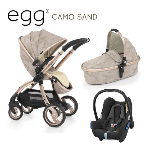 egg Stroller Camo Sand Travel System with Maxi-Cosi Cabriofix - Pushchair Expert