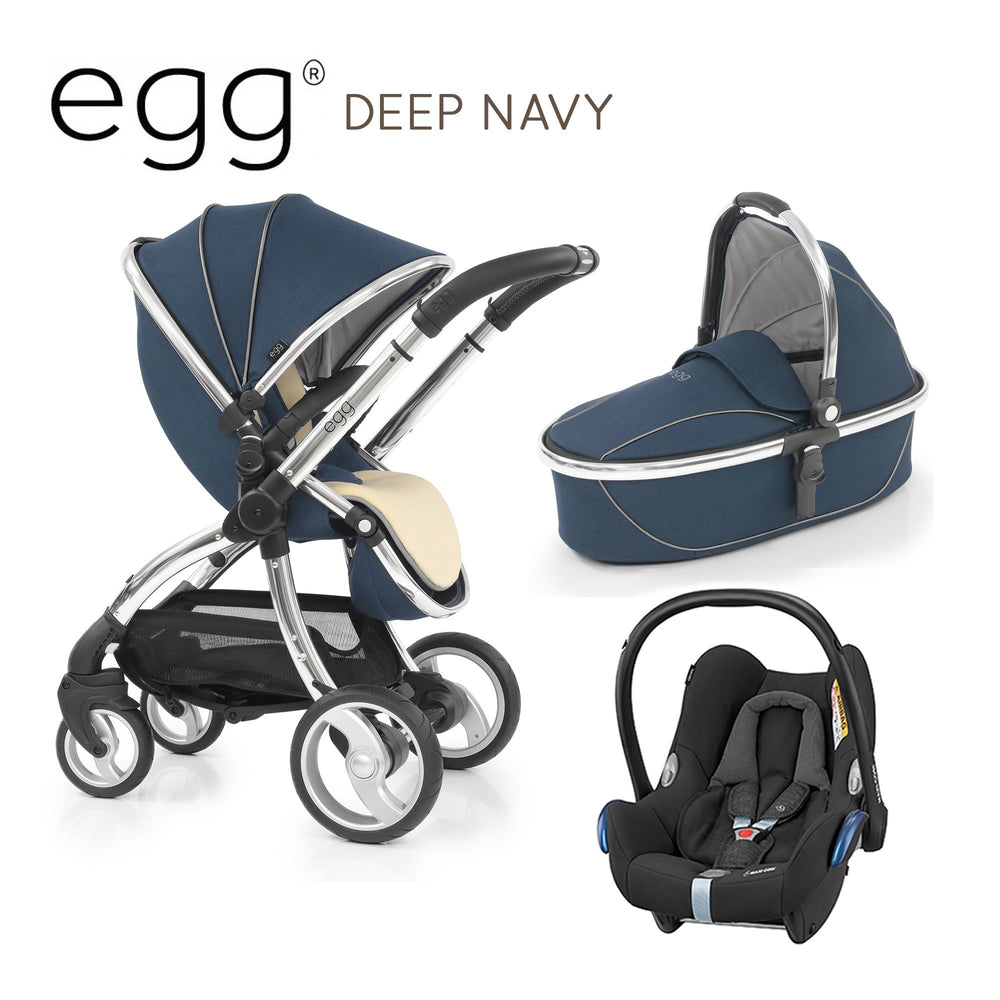 egg Travel System Deep Navy with Maxi-Cosi Cabriofix - Pushchair Expert