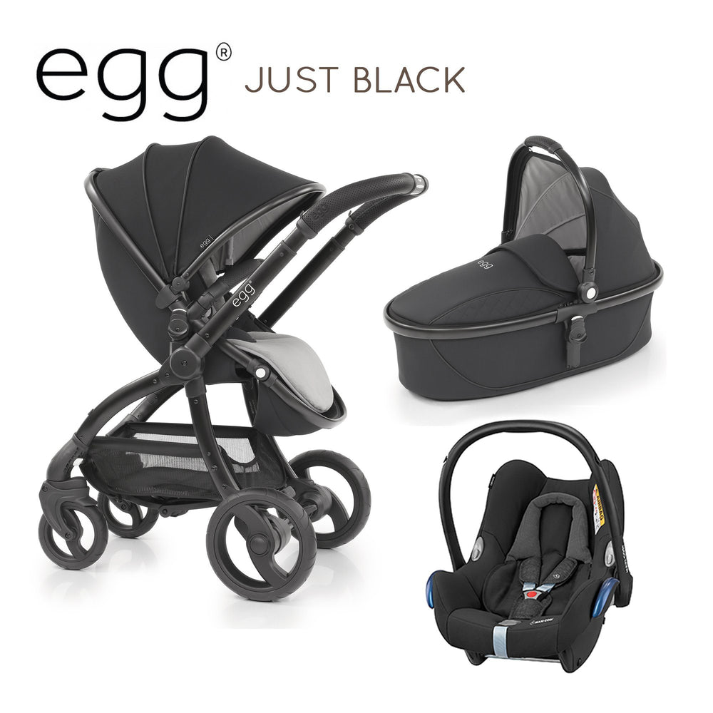 egg Travel System Just Black with Maxi-Cosi Cabriofix - Pushchair Expert