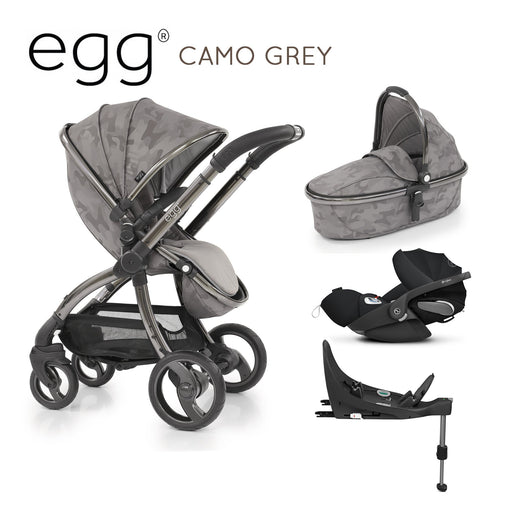 egg Stroller Camo Grey with Cybex Cloud Z and base - Pushchair Expert