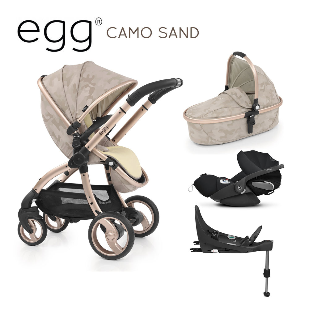 egg Stroller Camo Sand with Cybex Cloud Z and base - Pushchair Expert