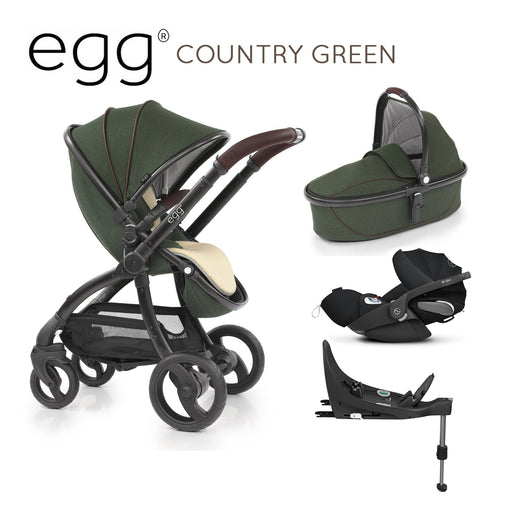 egg Stroller Country Green with Cybex Cloud Z and base - Pushchair Expert