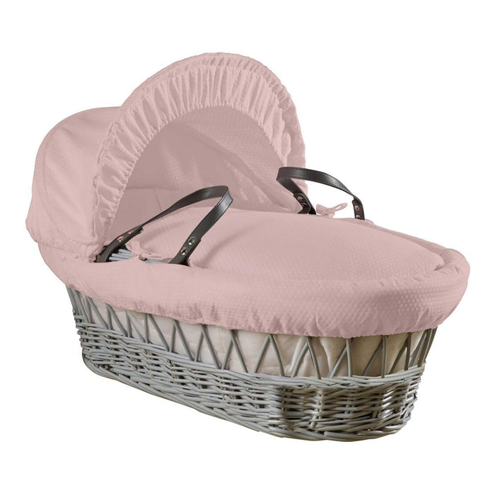 Clair de Lune Cotton Dream Grey Wicker Moses Basket with quilted liner