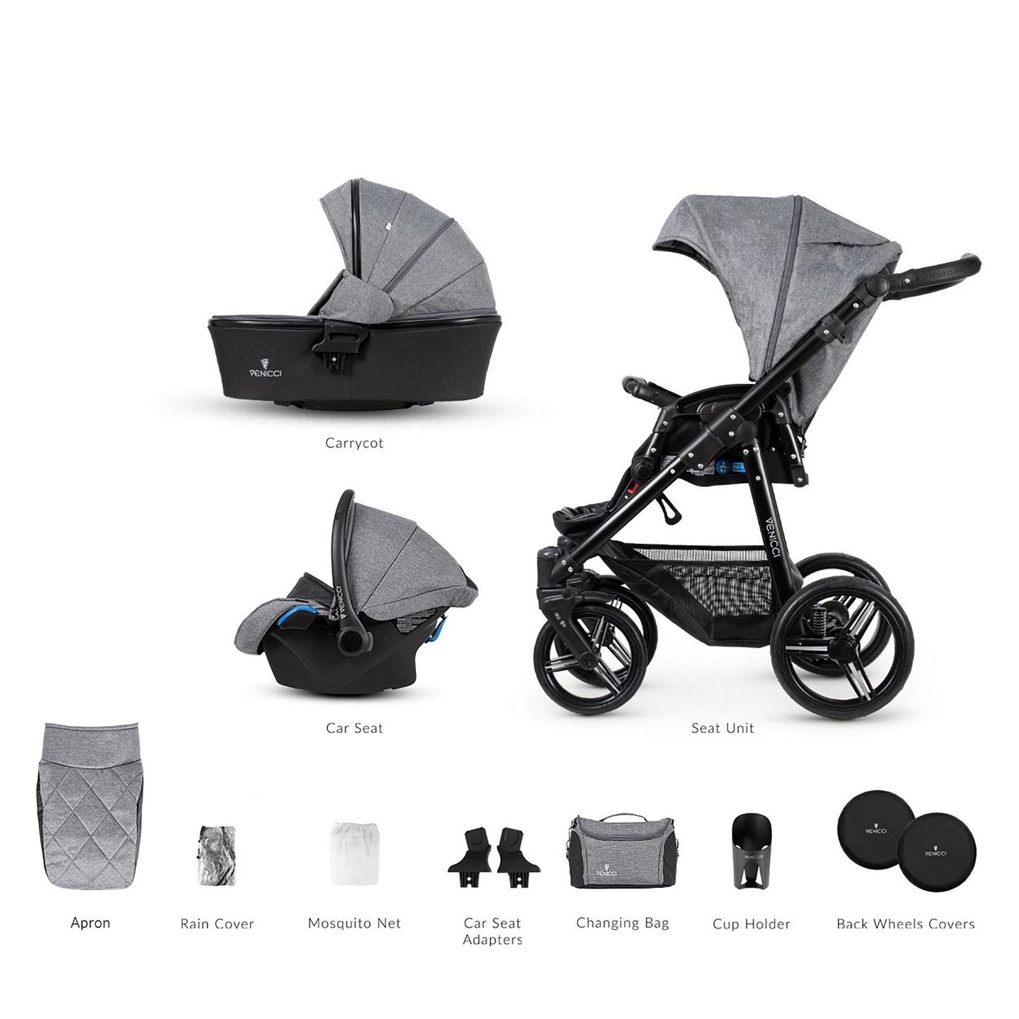 Venicci Shadow 3-in-1 Travel System - Denim Grey