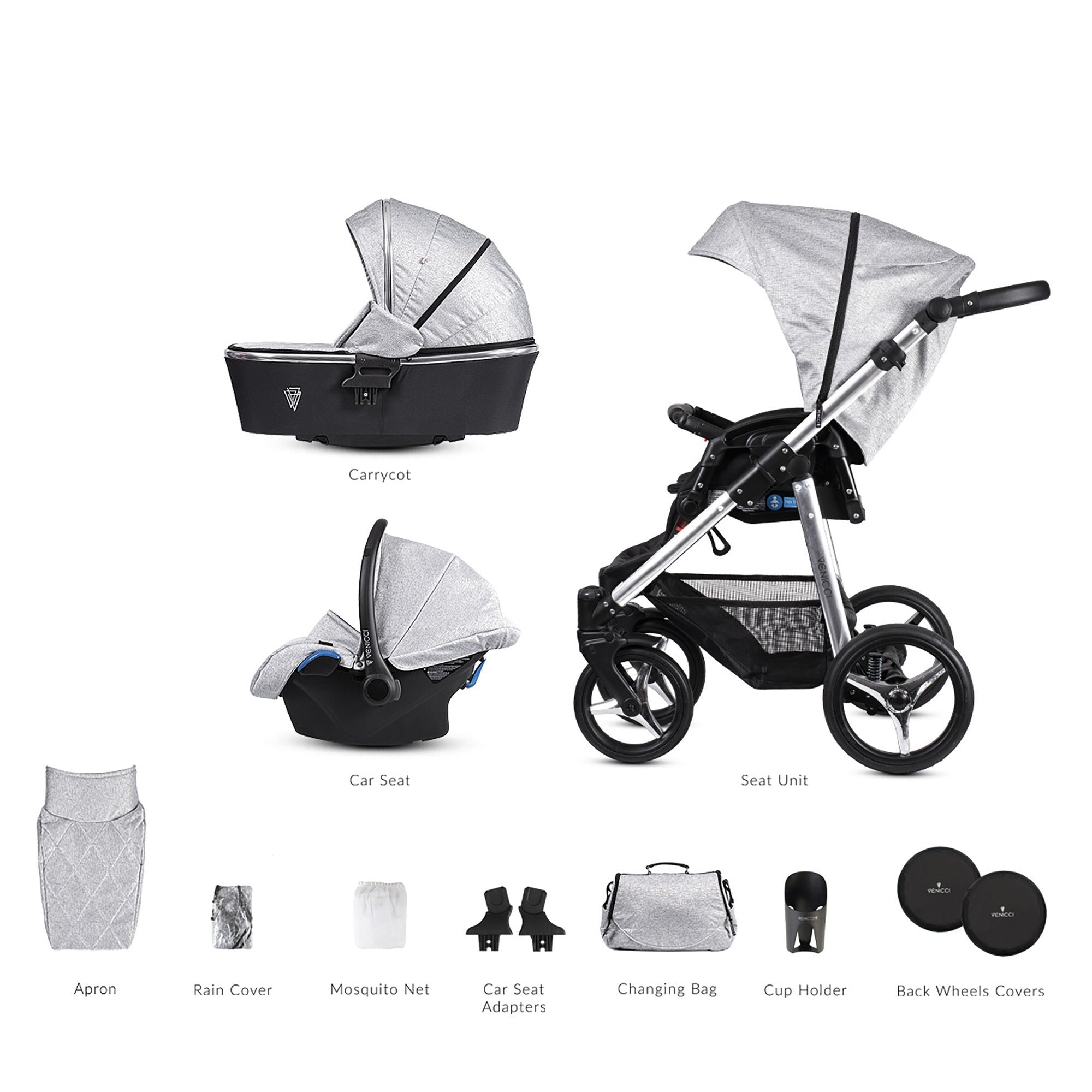 Venicci Silver 3-in-1 Travel System - Spark