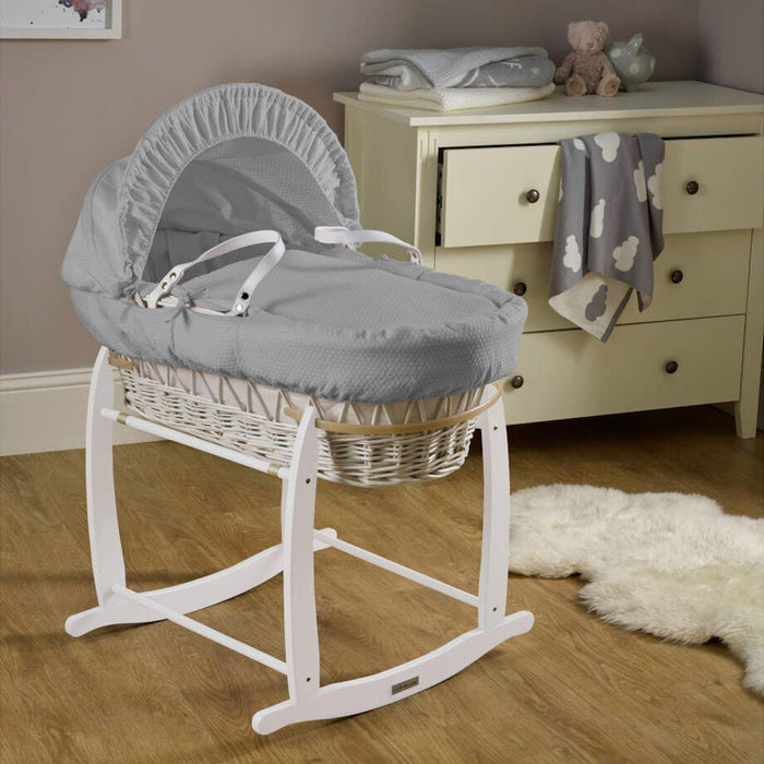 Clair de Lune Cotton Dream White Wicker Moses Basket with quilted liner