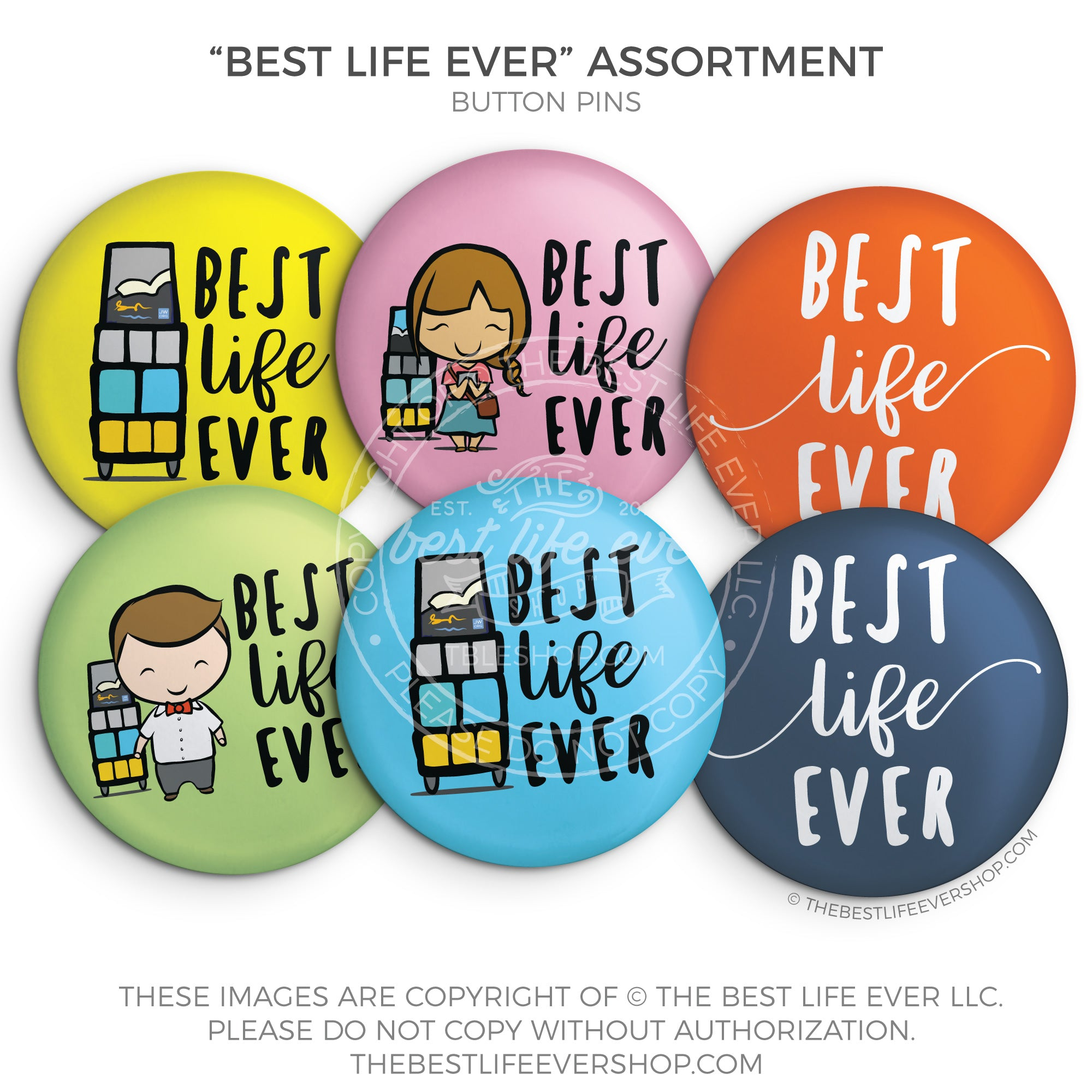 Best Life Ever Assorted Button Pin Set