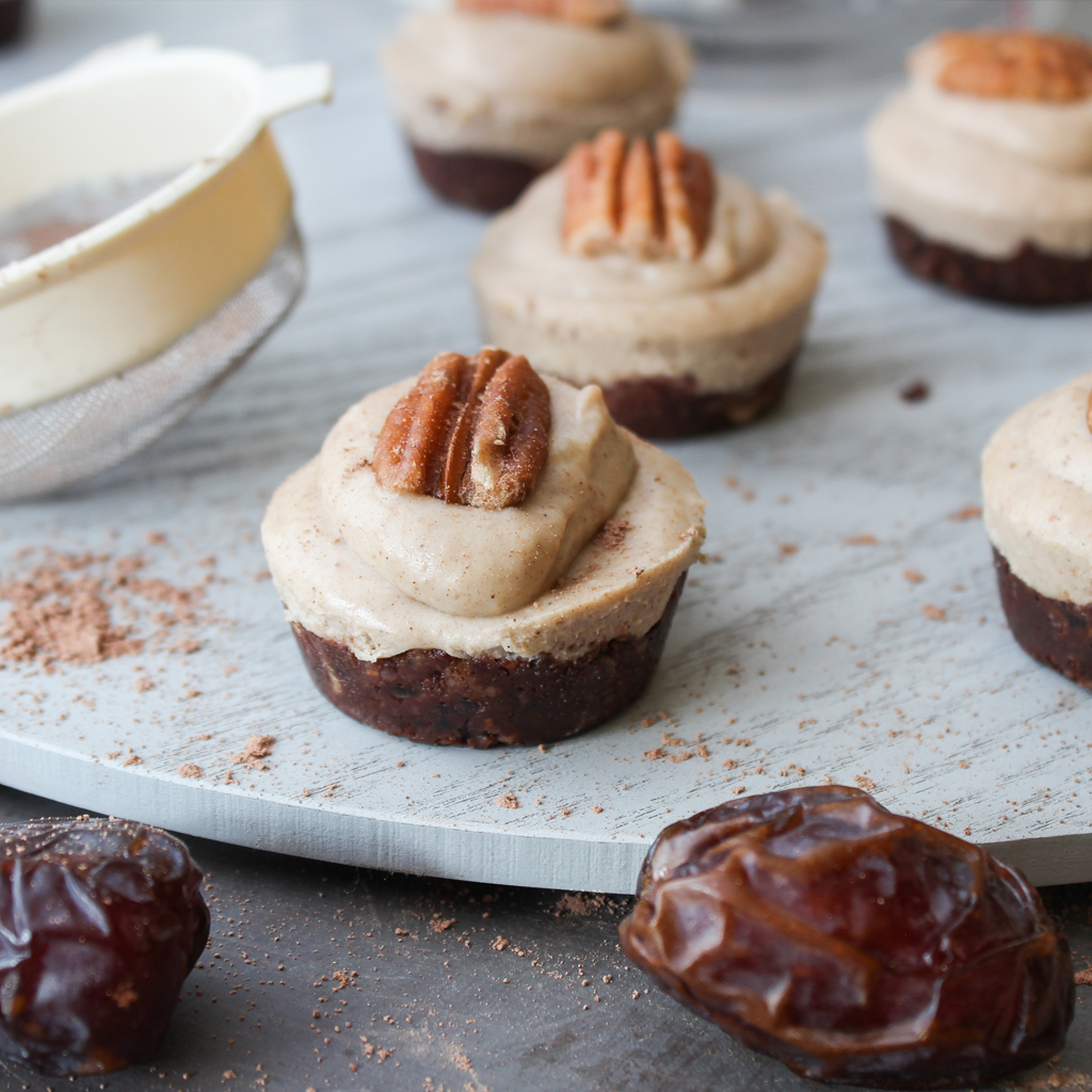 Raw mini pecan pies