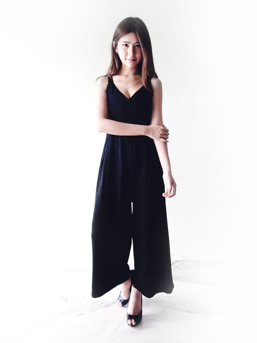 Summer V-neck Jumpsuit (Black)