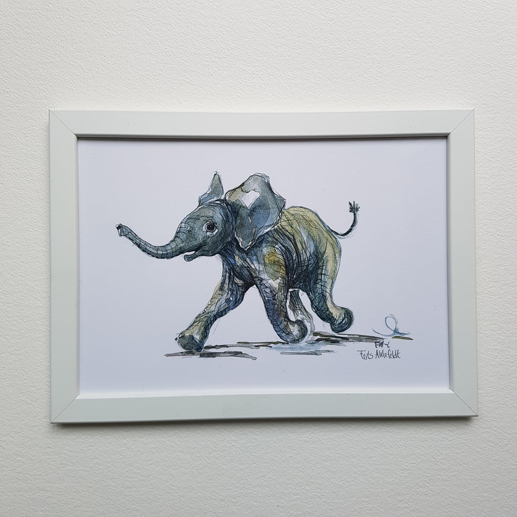 Artprint watercolor Elephant baby running