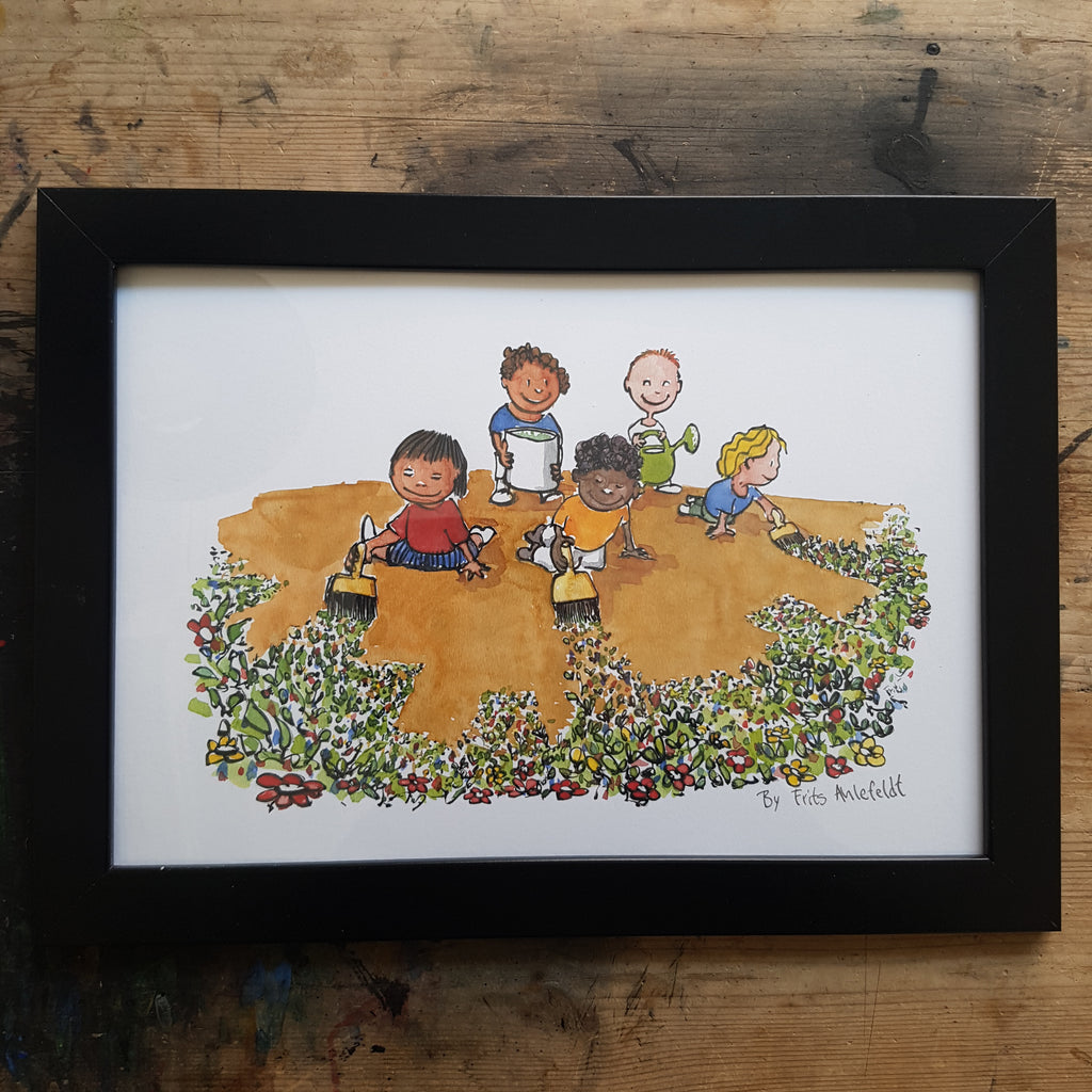 "Artprint ""Global kids flower painting the planet"""
