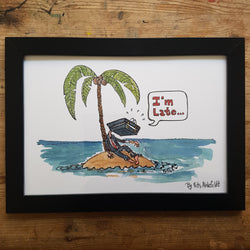 "Artprint ""Stranded businessman on island"""