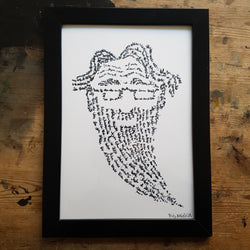 "Artprint ""Writing man with beard"""