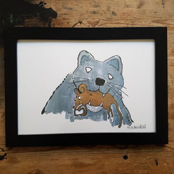 "Artprint ""Cat and smartphone mouse"""