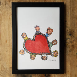 "Artprint illustration ""falling in love rescue team"""