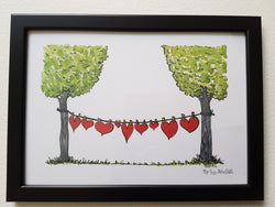 "Artprint ""hearts on drying line"""