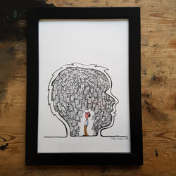 "Artprint ""Man in a head of notes"""