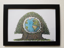 "Artprint ""Planet Earth in a tree Wood Wide Web"""