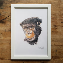 "Artprint watercolor ""chimp portrait"""