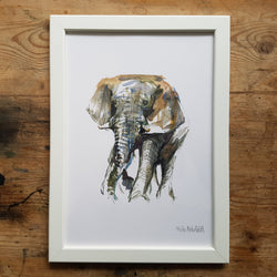 "Artprint watercolor ""Elephant front"""