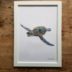 "Artprint watercolor ""sea turtle front view"""