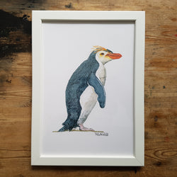 "Artprint watercolor ""penguin with yellow hair"""