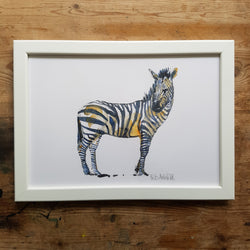 "Artprint watercolor ""Zebra side view"""